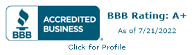 BBB Accredited Business. 2017 A+ rating. Click for review.